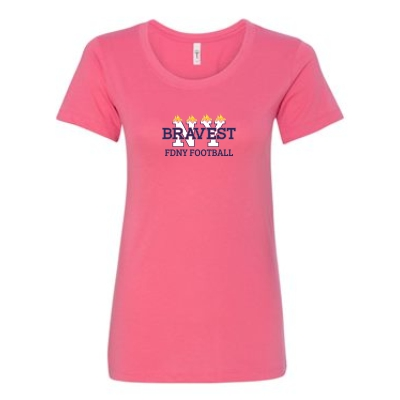 FDNY Bravest Football Ladies T-Shirt Pink