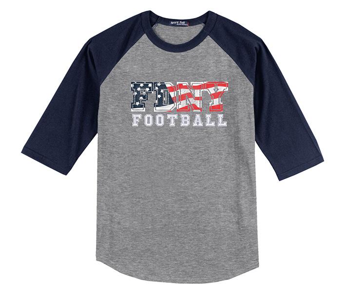 FDNY Bravest Football Flag Grey & Blue Short Sleeve Shirt
