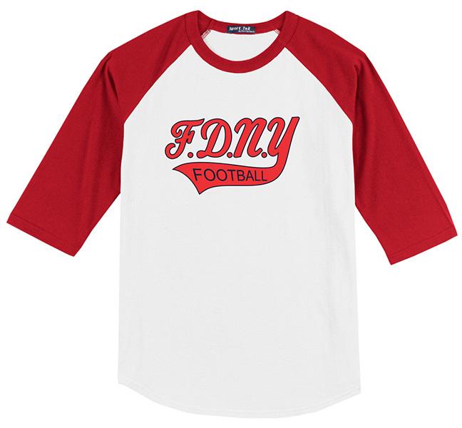 FDNY Bravest Football White & Red Short Sleeve Shirt